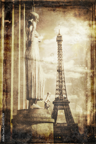Aged vintage retro picture of Tour Eiffel in PAris Canvas