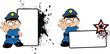 police kid cartoon copyspace stop