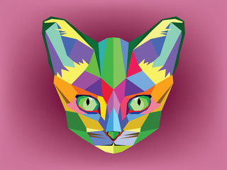 Fototapeta Kot Cat head with geometric style