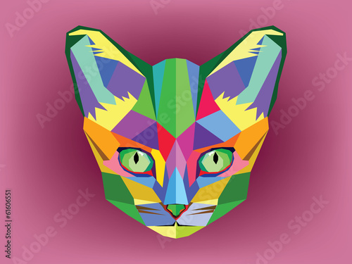 Cat head with geometric style - 61606551