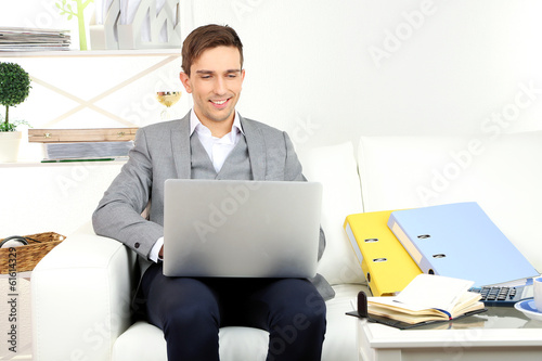 Young businessman using laptop on sofa at home Poster