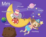 Alphabet.M letter.mushroom,moo n,mouse,magic,monkey.