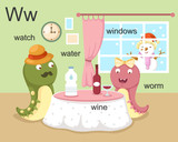 Alphabet.W letter.watch,water, wine,worm,windows.