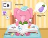 Alphabet.E letter.eraser,eight ,egg,eggplant,eleph ant.