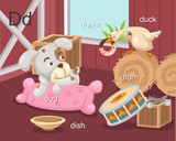 Alphabet.D letter.dog,donut,di sh,drum,duck.