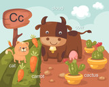 Alphabet.C letter.cat,carrot,c loud,cow,cactus.