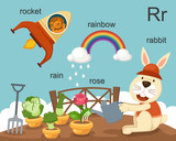 Alphabet.R letter.rocket,rain, rose,rabbit,rainbow .