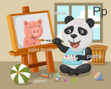 Alphabet.P letter.pig,panda,pa int brush,pencil,palette.