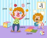 Alphabet.J letter.juice,jam,jo ker,jeans,jigsaw.
