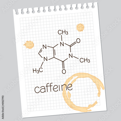 Fotografía Caffeine molecule on squared notebook paper with coffee stains