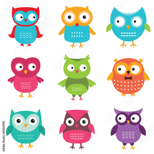 Canvas Prints Owls cartoon Owls set