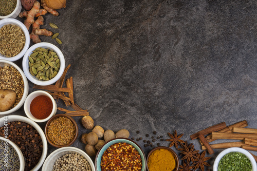 Printed kitchen splashbacks Spices Spices used in Cooking