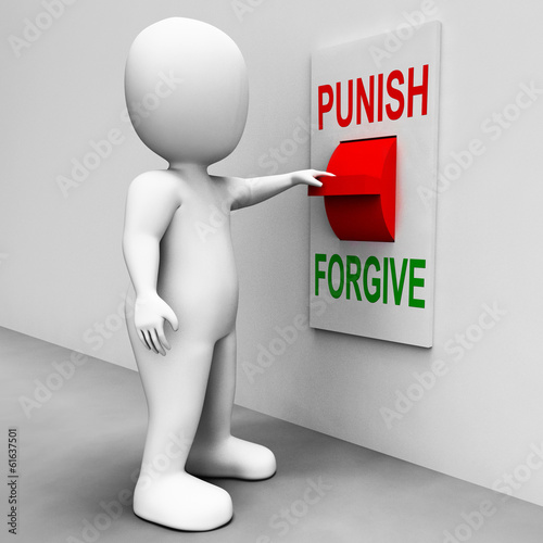 Fotografía  Punish Forgive Switch Shows Punishment or Forgiveness