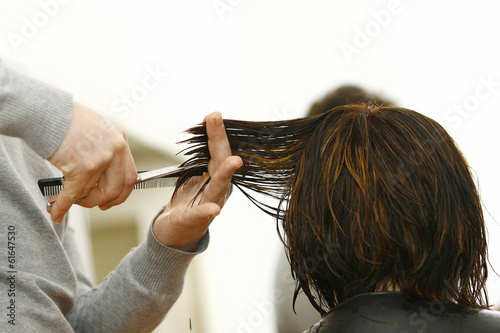 Fotografie, Obraz  Professional hairdresser with long hair model