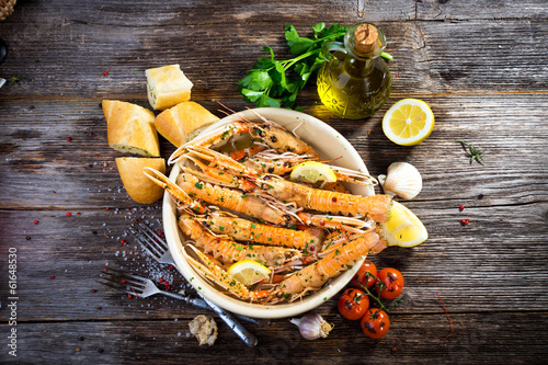 Poster Coquillage Grilled scampi