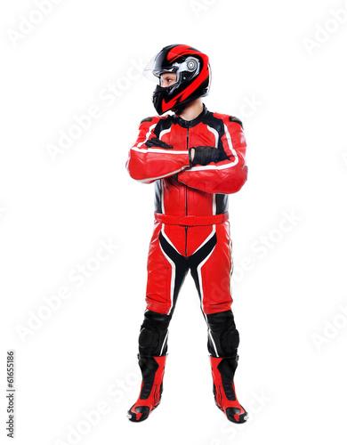 Valokuva motorcyclist on white background lookingto the side