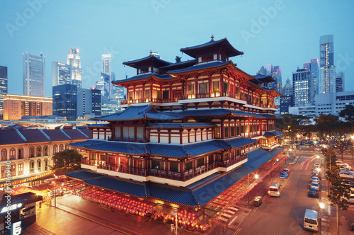 Wall Murals Singapore Buddha Toothe Relic Temple in Chinatown in Singapore.
