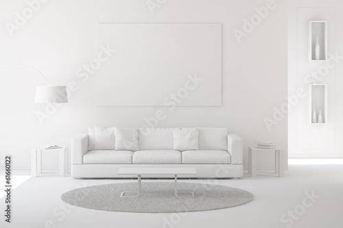 Stampa su Tela  Wohnzimmer als Raum in weiß