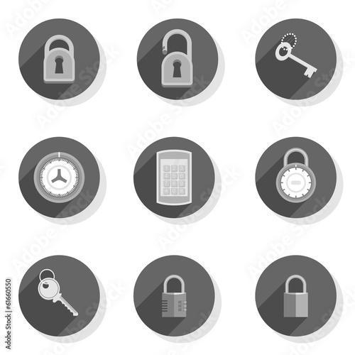 Obraz zamki kłódki klucze płaski zestaw ikon - fototapety do salonu