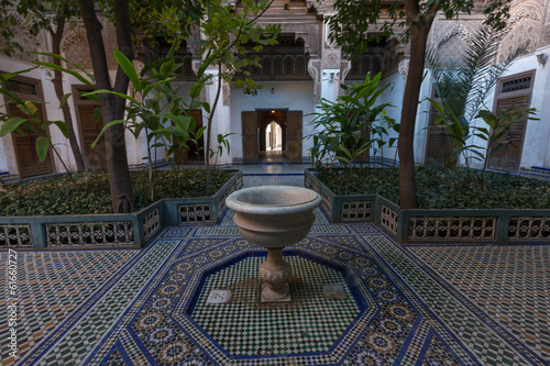 Tuinposter Marokko Patio in the Al Bahia Palace, Marrakesh, Morocco