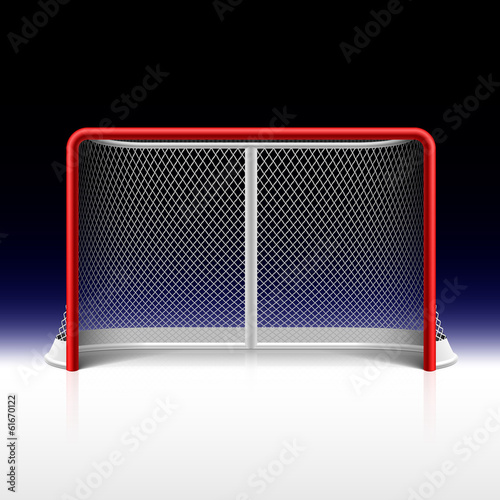 Photo  Ice hockey net, goal on black