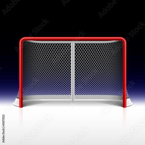 Ice hockey net, goal on black Poster