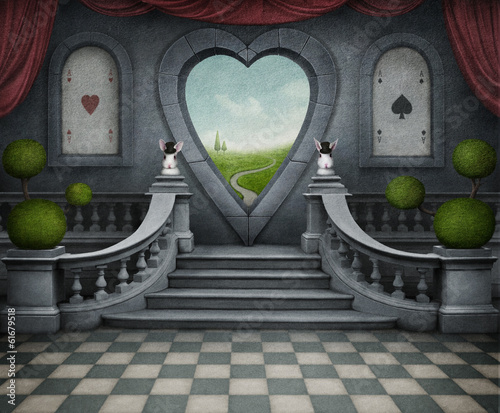 Fantastic background and door of heart. Wallpaper Mural