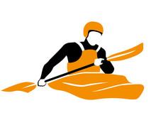 Icon Of Kayaker Rawing In Orange Boat