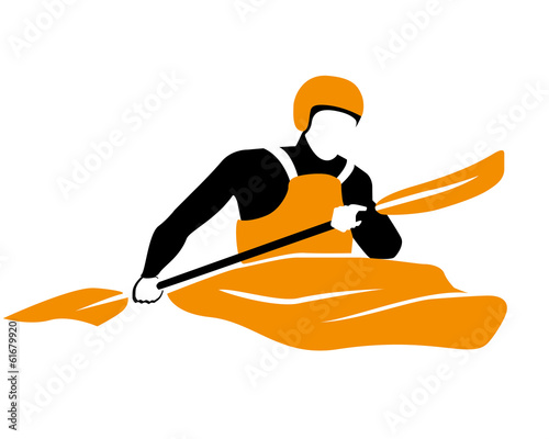 Valokuva  icon of kayaker rawing in orange boat