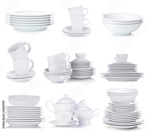 Photo sur Toile Plat cuisine Clean dishware isolated on white