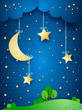 Countryside, fantasy illustration at night