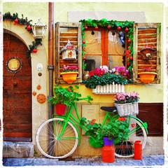Fototapeta na wymiar pretty streets of small italian villages