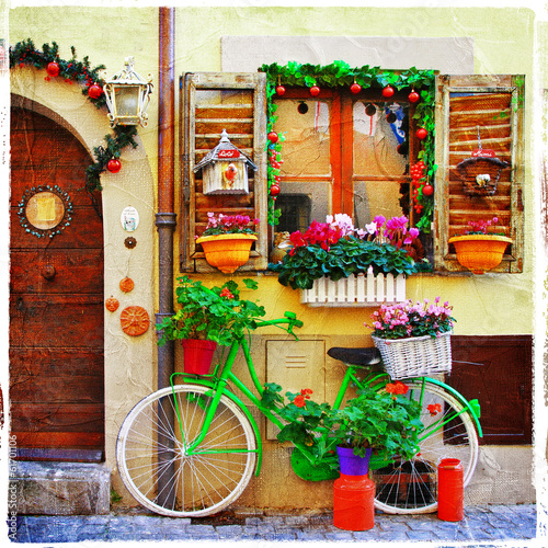 Fototapeta pretty streets of small italian villages
