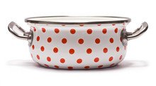 Saucepan With Red Dots Isolate...