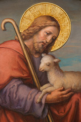 Fototapeta Religia i Kultura Vienna - Fresco of Jesus as good shepherd in Carmelites church