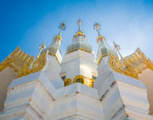 Golden Pagoda With Clear Bleu Sky In Buddhism Temple, Ubon Ratch