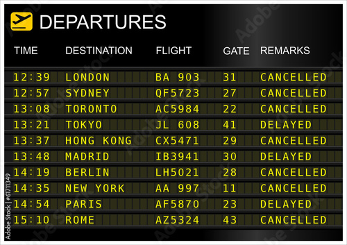 Fotografie, Obraz  Flights departures board isolated on white background