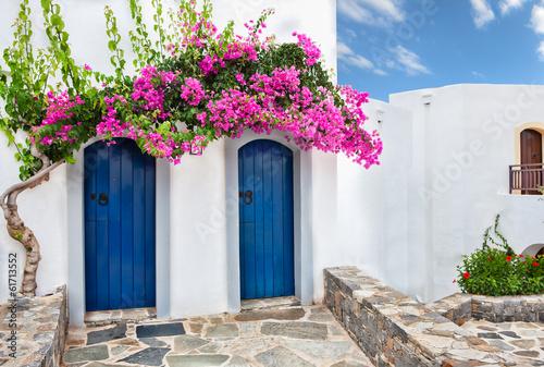Fotografia Purple bougainvillea over two blue doors