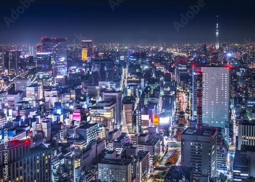 Foto auf AluDibond Tokio Tokyo Cityscape Over the Ginza District