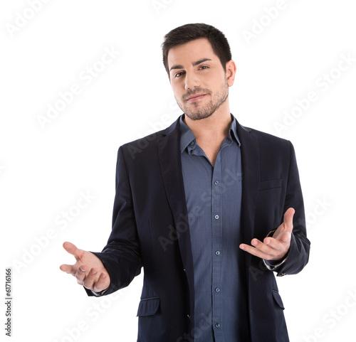 Fényképezés  Business Mann isoliert hält einen Vortrag: Körpersprache