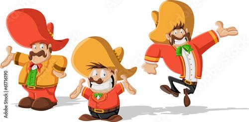 Fotografía  Three cartoon mexican mariachis with sombrero