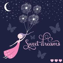 Sweet Dreams Girl Vector Illus...