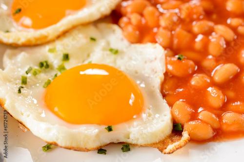Deurstickers Gebakken Eieren Yolk egg and bean
