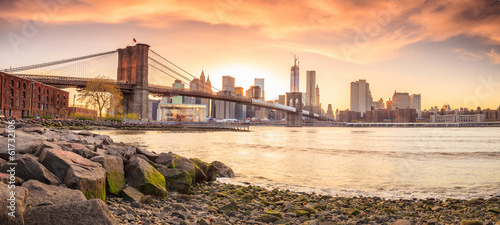 Photo sur Aluminium Brooklyn Bridge Brooklyn Bridge at sunset