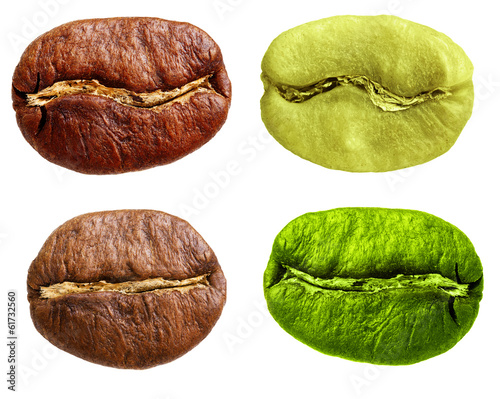 Poster Café en grains Black and green arabica, robusta coffee bean, grain isolated on