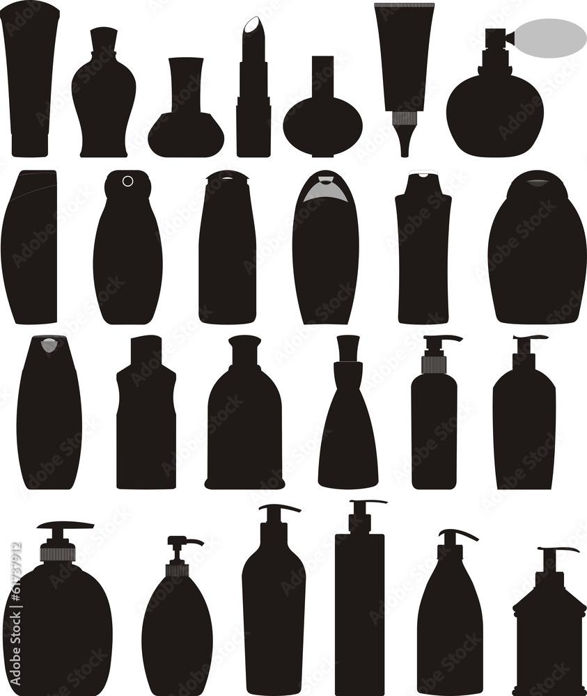 Fototapeta Bottles of cosmetic vector set