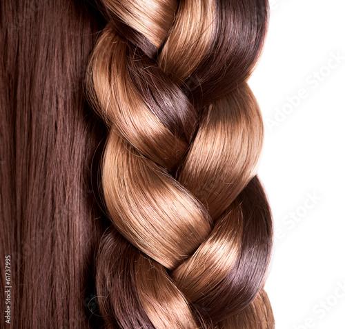 Fotografia, Obraz  Braid Hairstyle. Brown Long Hair close up
