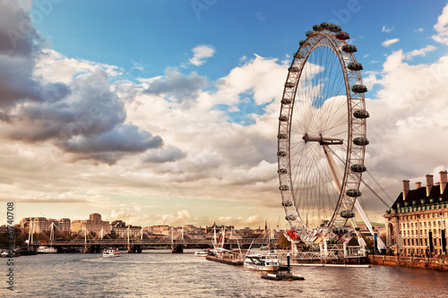 Fototapeta London, England the UK skyline. The River Thames obraz
