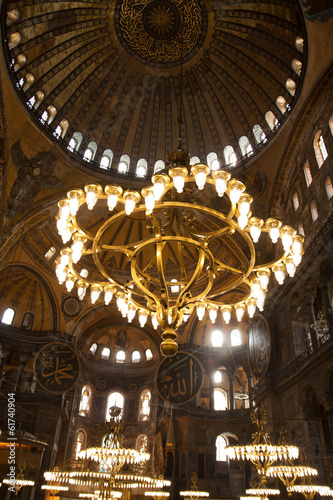 Printed kitchen splashbacks Theater vintage lamps in the cathedral of Hagia Sophia in Istanbul, Turk