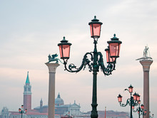 Lamppost And Column In San Marco